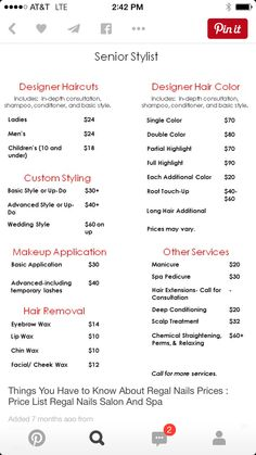 Diy Salon Price List After  Salon Stuff    Price List