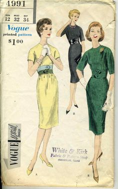 Vintage 50s Vogue 4991 CUT Misses Slim Dress with by RomasMaison, $18.00