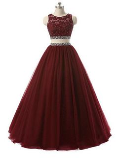 Two Piece Formal Gown, Charming Round Neckline Beaded Party Dress – BeMyBridesmaid Prom Dresses Two Piece, Cute Prom Dresses, Ball Dresses, Pretty Dresses, Homecoming Dresses, Beautiful Dresses, Wedding Dresses, Lehnga Dress, Formal Gowns