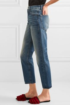 FRAME - Le Original Cropped High-rise Straight-leg Jeans - Blue
