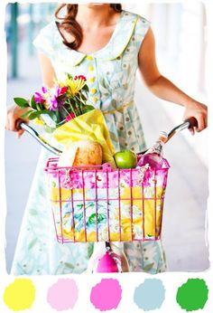 Color Palette Love: Raspberry   Lemonade #colorpalette #pink #yellow #green #blue @annaandbluepaperie