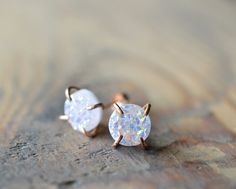 White Druzies on Rose Gold Studs. Prong Druzy by happylittlegems
