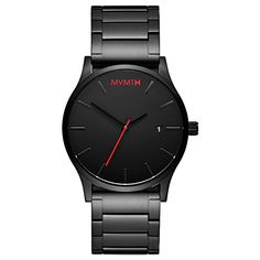 MVMT Watches Black Face with Black Stainless Steel Bracelet Men's Watch