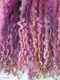 Close up - Hand dyed/painted Teeswater Curly Locks