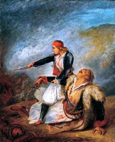 """The painting """"A Greek boy defending his wounded father"""" by Ary Scheffer reflects the attitudes of French Philhellenism. Greek History, Modern History, Art History, Greek Independence, Albanian Culture, Family Origin, Art Periods, Character And Setting, Dutch Artists"""