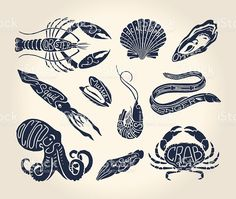 Vintage illustration of crustaceans, seashells and cephalopods names