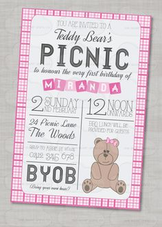 Adorable teddy bear picnic party picnic birthday birthday photos teddy bear picnic birthday invitation personalised filmwisefo