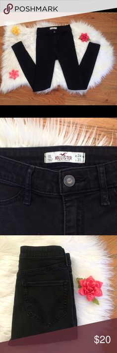 Hollister Super High Waisted Black Jeans 🌻 Awesome pair of super high rise jeans from Hollister! Classic black color that goes with everything, a staple pair of jeans for your closet! Super flattering fit. Would totally keep but they're a little tight for me now! Great condition, only worn a few times! Size 0, also fits a 00 :)  Measurements: Waist-12 inches flat across  Rise- 10 inches  Hip- About 15 inches (unstretched) Inseam- 31 inches Hollister Jeans Skinny