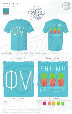 Phi Mu | Live it Love it | Pineapple Tee Shirt Design | South by Sea | Greek Tee Shirts | Greek Tank Tops | Custom Apparel Design | Custom Greek Apparel | Sorority Tee Shirts | Sorority Tanks | Sorority Shirt Designs