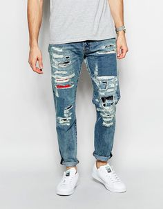 Image 1 of Levi's Jeans Premium Goods 501 Customised Tapered Fit Adnan The Tailor Extreme Distress Repair