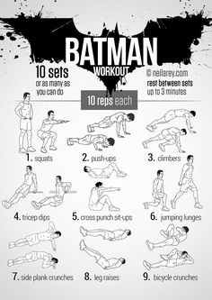 Batman Workout! Works: Quads, triceps, biceps, chest, shoulders, lower abs, lateral abs, glutes, upper abs, aerobic system, cardiovascular system
