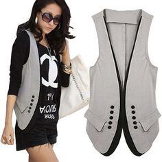euro shipping 2013 new spring and summer women's fashion patchwork vest suit lovers slim vest double breasted-inVests Waistcoats from Apparel Accessor. Workwear Fashion, Fashion Outfits, Women's Fashion, Jacket Pattern, Women's Summer Fashion, Clothing Patterns, Blouse Designs, Women Wear, Fashion Looks