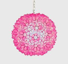"Jupiter 20"" Pendant Chandelier in Hot Pink Translucent Capiz Shell by Worlds Away JUPITER P/LightTrends.com"