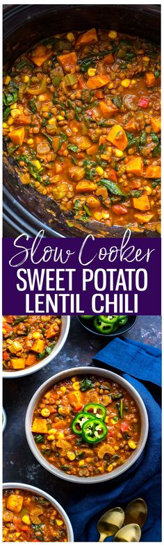 This Slow Cooker Sweet Potato Lentil Chili is a healthy, vegetarian spin on comfort food that's perfect for chilly weather! Dump everything in your crockpot and let the flavours mingle!