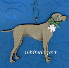 Handpainted Weimaraner Christmas Ornament by whitedogart on Etsy, $16.00
