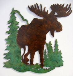 Moose, Cabin, Lodge, Northwoods ,Metal Art,Woodsy,Outdoorsy,Pine trees,Mountains on Etsy, $39.95
