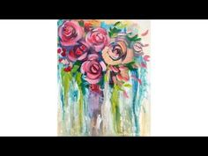 Learn how to paint Easy Impressionist Flowers in a Bohemian Black and White Striped Vase. Sunflowers & Daisies are fun and simple using Angela Anderson's ste...