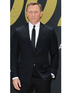 89bc921a6 Daniel Craig wore a TOM FORD black 2 piece notch lapel O'conner suit, white  shirt and black silk tie
