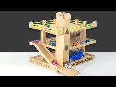 DIY car parking Garage with lift of cardboard ! Garage for Kids - YouTube