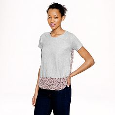 Vintage cotton silk-back tee in ditzy floral