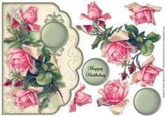 Dew Drop Roses Scalloped Edge Card on Craftsuprint designed by Julene Harris - Stunning vintage artwork of pink roses accented with early morning dew drops. Please click on my name to view more of my designs. - Now available for download!