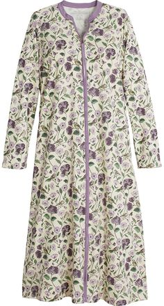 This warm cotton zip front robe features a lush garden feel with birds and butterflies and the ease of an elbow length womens robes that will not get in the way. Pakistani Fashion Casual, Modest Fashion, Fashion Dresses, Cotton Sleepwear, Sleepwear Women, Night Gown Dress, Pajama Outfits, Dress Neck Designs, Indian Designer Wear