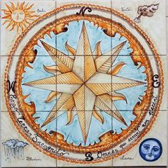 Compass Art, Compass Rose, Compass Icon, Tile Murals, Tile Art, Mariners Compass, Mosaic Pieces, Black And White Marble, Mosaic Projects