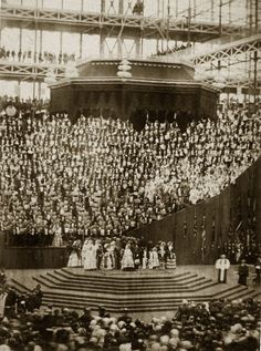 The opening ceremony at Crystal Palace, led by Queen Victoria, after its reconstruction at Sydenham Hill, South London, 1851. (Photo by Phil...