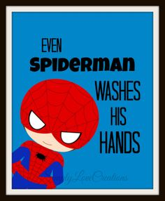 Let Spiderman help you get the kids ready for bed - Superhero Bathroom Art Prints Set of 3 by SimplyLoveCreations