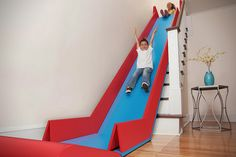 Sliderider: A weighted top keeps the foam, rubber and vinyl constructed slide anchored at the top of the staircase, while built-in handles make it easy to carry once it's folded up, and ready for storage.