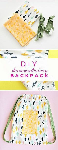 30 Minute Drawstring Fabric Backpack. A quick and simple sewing project for beginners. They make great bags for kids or adults.