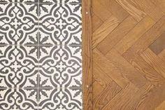 Combinando madera y azulejo. 12 suelos de morir de amor · 12 flooring ideas combining tiles and wood - Vintage & Chic. Pequeñas…