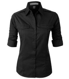 This easy care roll up sleeve twill button down shirt is perfect for uniforming. This shirt is strategically crafted from a mediumweight, durable material for maximum coverage while still offering all Black Button Down Shirt, Button Up Shirts, Black Shirts, Womens Uniform Shirts, Estilo Tomboy, Corsage, How To Roll Sleeves, Look Fashion, Fashion Women