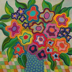Liesel Malan - acrylic on canvas Liesel Malan - acrylic on canvas Folk Art Flowers, Abstract Flowers, Abstract Flower Paintings, Owl Paintings, Art Floral, Art Fantaisiste, Whimsical Art, Acrylic Art, Diy Art