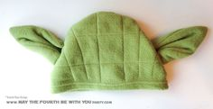 DIY Yoda Fleece hat. Check out all our other Star Wars costumes on our blog! #yoda #starwars #starwarsparty #maythefourthbewithyou #starwarsbirthday #starwarscostume #halloweencostume #cosplay maythefourthbewithyoupartyblog.com