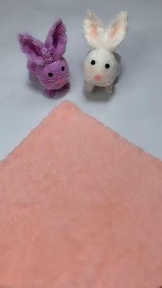 Felt Crafts Diy, Diy Crafts Hacks, Bunny Crafts, Diy Crafts For Gifts, Easter Crafts For Kids, Diy Home Crafts, Diy Teddy Bear, Towel Crafts, Diy Doll