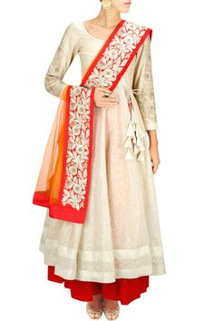 White and oragne anarkali lehenga – Panache Haute Couture