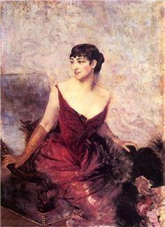 """""""Countess de Rasty Seated in an Armchair"""", c. 1878-79, by Giovanni Boldini (Italian, 1842-1931)."""