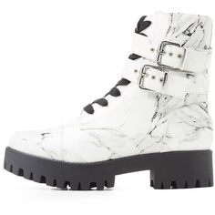 Wild Diva Lounge Marble Print Combat Boots ($31) ❤ liked on Polyvore featuring shoes, boots, white, army boots, high ankle boots, platform combat boots, white military boots and rounded toe boots
