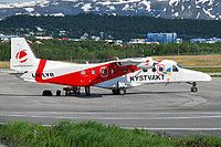 Lufttransport Dornier 228-202K LN-LYR aircraft,  skating at Norway Tromso International Airport. 01/06/2013.