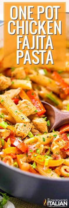 This hearty One-Pot Chicken Fajita Pasta Recipe has all the great classic chicken fajita flavors combined with creamy pasta in a perfect weeknight meal!