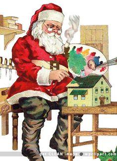 Santa painting dollhouse (1914) | Original source unknown