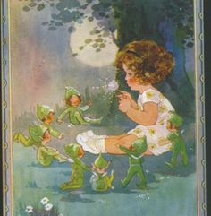 """""""TELLING THE FAIRIES THE TIME"""" GIRL SENDS ELVES TO BED,AGNES RICHARDSON POSTCARD"""