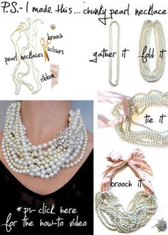 vila, DIY pearl necklace... oh I have some vintage pieces I can use for this without damaging them!