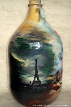 Rasprava o LiveInternet - Ruski uslugu online dnevnika Hand Painted Wine Glasses, Painted Wine Bottles, Lighted Wine Bottles, Painted Jars, Decorated Bottles, Wine Bottle Art, Wine Bottle Crafts, African Art Paintings, Decoupage Glass