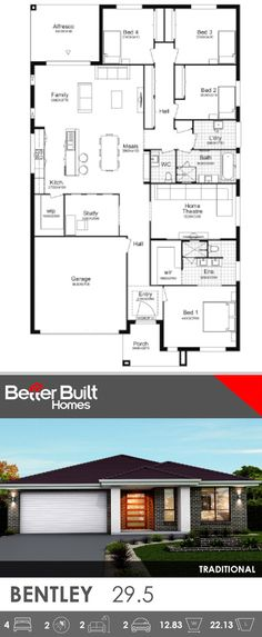 Single Storey House Design, the Bentley 29, with Traditional facade. This generous layout includes everything a home needs. 4 bedrooms plus a study, all with wardrobes, Home Theatre, gourmet kitchen with window splashback and large Walk In Pantry. #SingleStorey #groundfloor #housedesigns #BetterBulit #floorplans