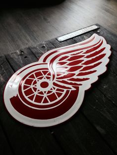 Fired Detroid Red Wings - original porcelain / fired enamel / metal signage