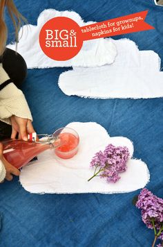 ✿ cloud picnic blanket and napkins...how to...