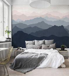Mountain Mural Wallpaper, Grayish Navy Pale Pink, Mountain Extra Large Wall Art, Peel and Stick Wall Poster