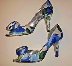 Michaelangelo Womens BLOOM Satin Peep Toe Heels 8.5 M Blue Floral Shoes Easter #Michelangelo #OpenToe #SpecialOccasion